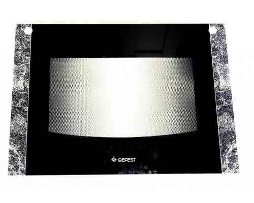 """Стекло духовки наружное плиты """"GEFEST"""" Гефест 1200, черный мрамор, 598*442мм (1200.18.1.001-04)"""
