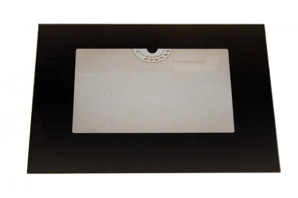 Стекло духовки наружное плиты GEFEST 1200 С5. 1200 С6. 1200 С7, черное, 598*409мм, с термоуказателем (1200.18.2.001-03)